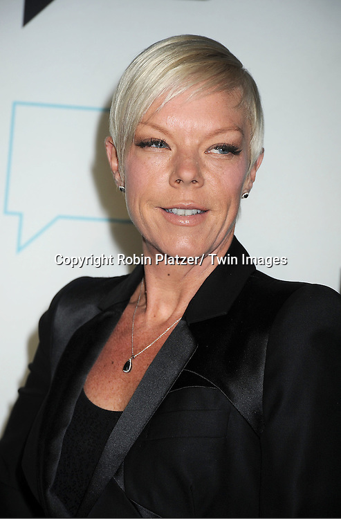 Tabitha Coffey in Alexander McQueen suit attends the Bravo Upfront on April 4, 2012 at 548 West 22nd Street in New York City.