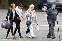 Pictured: Rhian Nokes (2nd L) arrives at Swansea Crown Court. Friday 08 June 2018<br /> Re: A school sports coach who lied about having a brain tumour to start a relationship with a pupil is due to be sentenced today at Swansea Crown Court.<br /> Rhian Nokes, 29, was working at a school in South Wales in 2010 when she befriended a 13-year-old pupil.<br /> Over the course of the next three years, Nokes lied to the pupil about her health and family issues in order to gain sympathy and trust from her. The defendant initially encouraged the pupil to exchange mobile numbers and text messages outside of school, Swansea Crown Court heard.<br /> She progressed to encouraging the pupil, then aged 15, to meet outside of school and start a sexual relationship.