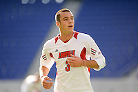 Paolo DelPiccolo (3) of the Louisville Cardinals. The Louisville Cardinals defeated the Providence Friars 3-2 in penalty kicks after playing to a 1-1 tie during the finals of the Big East Men's Soccer Championship at Red Bull Arena in Harrison, NJ, on November 14, 2010.