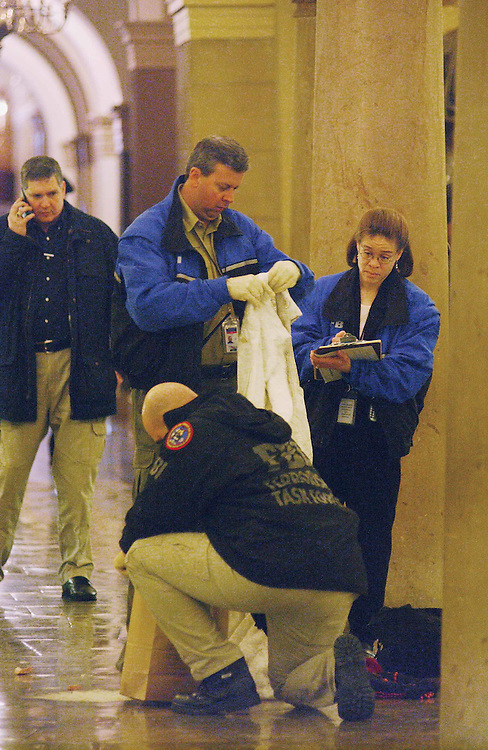 3/6/03.CRYPT INCIDENT--FBI investigators at the scene of the arrest in the Crypt of the U.S. Capitol..CONGRESSIONAL QUARTERLY PHOTO BY SCOTT J. FERRELL