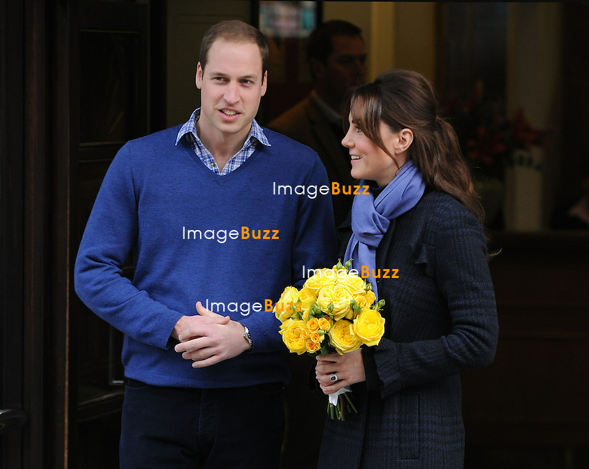 6th December, 2012:  Prince William, The Duke of Cambridge and Catherine leave the King Edward VII hospital. London