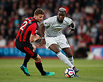 Paul Pogba of Manchester United turns Simon Francis of Bournemouth during the premier league match at the Vitality Stadium, Bournemouth. Picture date 18th April 2018. Picture credit should read: David Klein/Sportimage