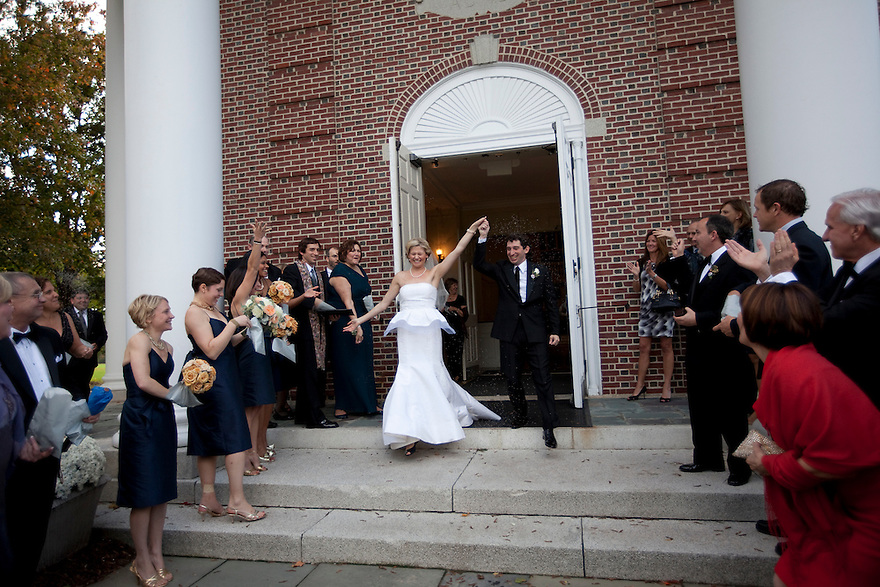 CONCORD, MA.-- October 15, 2011-- Guests toss lavendar seeds at Victoria Bonney and Joseph Goodwin after they wed in Concord, Massachusetts. CREDIT: JODI HILTON FOR THE NEW YORK TIMES