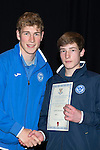 St Johnstone FC Youth Academy Presentation Night at Perth Concert Hall..21.04.14<br /> David Wotherspoon presents to Jamie Docherty<br /> Picture by Graeme Hart.<br /> Copyright Perthshire Picture Agency<br /> Tel: 01738 623350  Mobile: 07990 594431