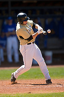 Weldon Woodall #25 of the Wake Forest Demon Deacons makes contact with the baseball at Jack Coombs Field March 29, 2009 in Durham, North Carolina. (Photo by Brian Westerholt / Four Seam Images)