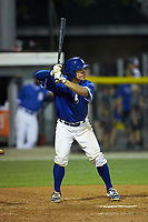 Freddy Fermin (49) of the Burlington Royals at bat against the Kingsport Mets at Burlington Athletic Stadium on July 27, 2018 in Burlington, North Carolina. The Mets defeated the Royals 8-0.  (Brian Westerholt/Four Seam Images)
