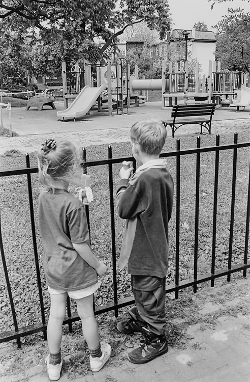 Francessa Brown (age 5), and friend Ryan Sandmann (age 6) at Marion Park, looking at the new playground on May 18, 1995. (Photo by Laura Patterson/CQ Roll Call via Getty Images)