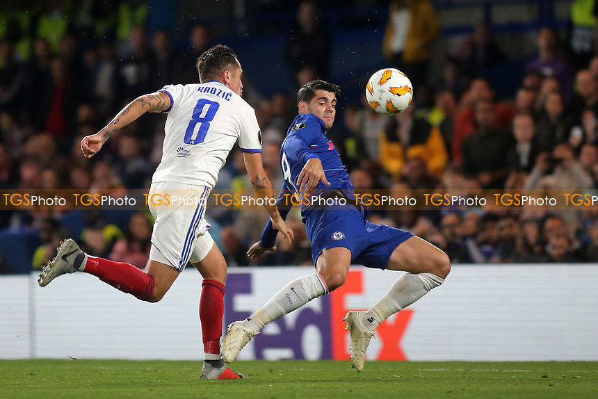 Chelsea's Alvaro Morata swivels around to take a shot at the Mol Vidi goal, but he misses the target during Chelsea vs MOL Vidi, UEFA Europa League Football at Stamford Bridge on 4th October 2018