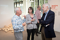 Special guests, Trustees, alumni, faculty and staff gather for the dedication reception for Occidental College's newly opened Oxy Arts building on York Boulevard on Oct. 3, 2019. Oxy Arts is Oxy's community art center located in Highland Park, one block south of campus.<br /> (Photo by Marc Campos, Occidental College Photographer)