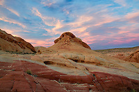 Sunset and colorful rocks. Valley of Fire State Park, Nevada
