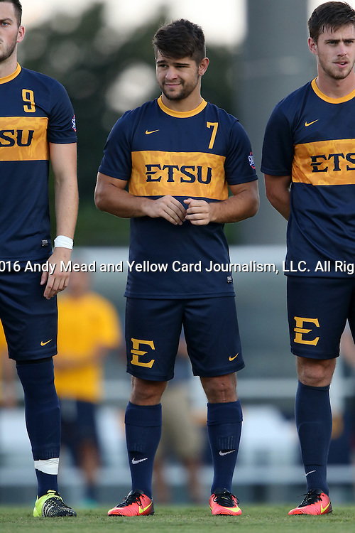 13 September 2016: ETSU's Joao Ramalho (BRA). The University of North Carolina Tar Heels hosted the East Tennessee State University Buccaneers at Fetzer Field in Chapel Hill, North Carolina in a 2016 NCAA Division I Men's Soccer match. ETSU won the game 1-0 in sudden death overtime.