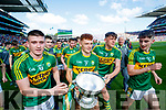 Eddie Horan, Niall Donohue, David Clifford and Chris O'Donoghue Kerry Minors celebrate with the Tom Markham Cup after defeating Derry in the All-Ireland Minor Footballl Final in Croke Park on Sunday.
