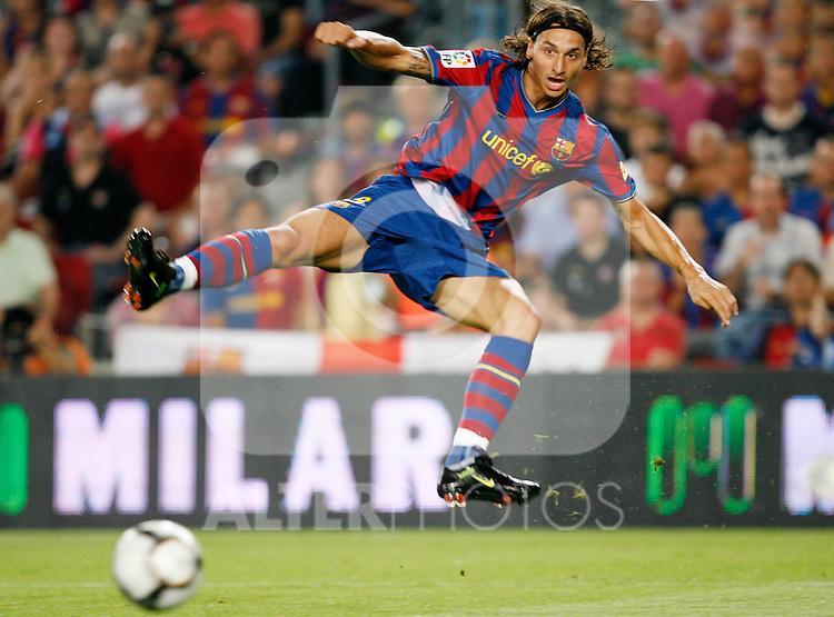FC Barcelona's Zlatan Ibrahimovic during La Liga match.August 31 2009. (ALTERPHOTOS/Acero).