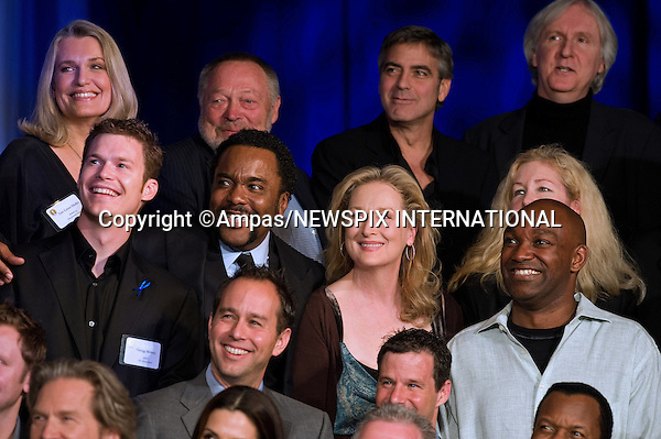 82nd OSCARS NOMINEES LUNCHEON.Jonas Rivera (bottom) Front row (from left) Gregg Helvey, Lee Daniels, Meryl Streep and Broderick Johnson.  Back row (from left) Lise Lense-Moller, Tivi Magnusson, George Clooney and James Cameron at the Oscar Nominees Luncheon in Beverly Hills, February 15, 2010..Academy Awards for outstanding film achievements of 2009 will be presented on Sunday, March 7, 2010 at the Kodak  Theatre, Hollywood, Los Angeles.PHOTO CREDIT:NEWSPIX INTERNATIONAL  .(Failure to by-line the photograph will result in an additional 100% reproduction fee surcharge. You must agree not to alter the images or change their original content)..            *** ALL FEES PAYABLE TO: NEWSPIX INTERNATIONAL ***..IMMEDIATE CONFIRMATION OF USAGE REQUIRED:Tel:+441279 324672..Newspix International, 31 Chinnery Hill, Bishop's Stortford, ENGLAND CM23 3PS.Tel: +441279 324672.Fax: +441279 656877.Mobile: +447775681153.e-mail: info@newspixinternational.co.uk