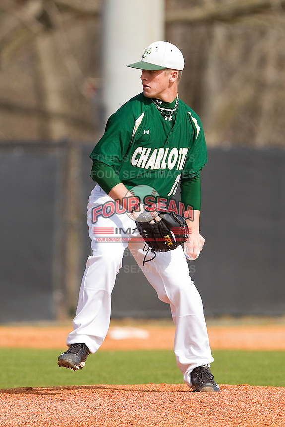 Relief pitcher Jordan Hudson #13 of the Charlotte 49ers in action against the Saint Peter's Peacocks at Robert and Mariam Hayes Stadium on February 18, 2012 in Charlotte, North Carolina.  Brian Westerholt / Four Seam Images