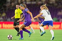 Orlando, FL - Saturday September 02, 2017: Dani Weatherholt, Rosie White during a regular season National Women's Soccer League (NWSL) match between the Orlando Pride and the Boston Breakers at Orlando City Stadium.