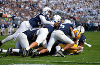 UNIVERSITY PARK, PA - SEPTEMBER 14: Penn State DE Yetur Gross-Matos (99) and a mass of Penn State defenders stop Pitt QB Kenny Pickett (8) short of the end zone during the fourth quarter of the Pittsburgh Panthers (Pitt) vs. Penn State Nittany Lions September 14, 2019 at Beaver Stadium in University Park, PA. (Photo by Randy Litzinger/Icon Sportswire)
