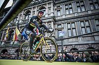 World Champion Peter Sagan (SVK/Bora Hansgrohe) rolling onto the spectacular start podium in the center square of the race start town of Antwerp on his new 'bling' bike<br /> <br /> 102nd Ronde van Vlaanderen 2018 (1.UWT)<br /> Antwerpen - Oudenaarde (BEL): 265km