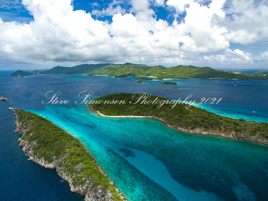 Congo and Lovango Cays with St. John in the distance<br /> US Virgin Islands