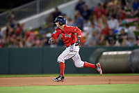 Boston Red Sox second baseman Dustin Pedroia (15) running the bases during a Spring Training game against the Minnesota Twins on March 16, 2016 at Hammond Stadium in Fort Myers, Florida.  Minnesota defeated Boston 9-4.  (Mike Janes/Four Seam Images)