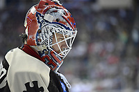 HERSHEY, PA - MARCH 16: Hershey Bears goalie Ilya Samsonov (35) looks through the bars of his Washington Capitals goalie mask during the Bridgeport Sound Tigers vs. the Hershey Bears AHL hockey game March 16, 2019 at the Giant Center in Hershey, PA. (Photo by Randy Litzinger/Icon Sportswire)