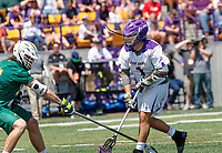 Tehoka Nanticoke (#1) watches as his shot hits the net as UAlbany Lacrosse defeats Vermont 14-4  in the American East Conference Championship game at Casey Stadium, May 5.