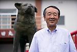 Yasutami Togashi, chairman of the Akita Inu Preservation Association (AIPA), poses for a photo outside the Akita Inu Hall in Odate City, Akita Prefecture Japan. Photographer: Rob Gilhooly