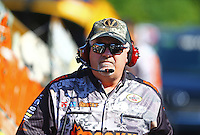 May 13, 2016; Commerce, GA, USA; Dickie Venables , crew chief for NHRA top fuel driver Matt Hagan (not pictured) during qualifying for the Southern Nationals at Atlanta Dragway. Mandatory Credit: Mark J. Rebilas-USA TODAY Sports