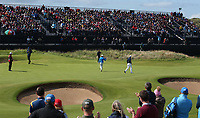 Tommy Fleetwood (ENG) sinks birdie on 13 during Round One of the 148th Open Championship, Royal Portrush Golf Club, Portrush, Antrim, Northern Ireland. 18/07/2019. Picture David Lloyd / Golffile.ie<br /> <br /> All photo usage must carry mandatory copyright credit (© Golffile | David Lloyd)