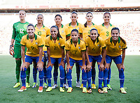 Brazil lines up before an international friendly at the Florida Citrus Bowl in Orlando, FL.  The USWNT defeated Brazil, 4-1.