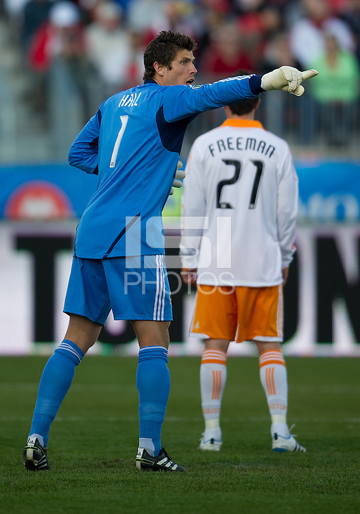 07 May 2011: Houston Dynamo goalkeeper Tally Hall #1 in action during an MLS game between the Houston Dynamo and the Toronto FC at BMO Field in Toronto, Ontario..Toronto FC won 2-1.