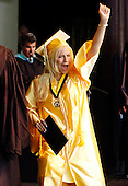 Yes!:  A graduating senior lets out a holler after receiving her diploma during a 2008 Commencement ceremony.