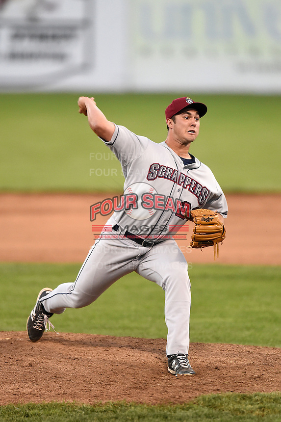 Mahoning Valley Scrappers pitcher J.P. Feyereisen (28) delivers a pitch during a game against the Batavia Muckdogs on June 21, 2014 at Dwyer Stadium in Batavia, New York.  Batavia defeated Mahoning Valley 10-6.  (Mike Janes/Four Seam Images)
