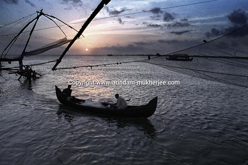 Sunset a Fort Kochi, Ernakulam, Kerala, India.