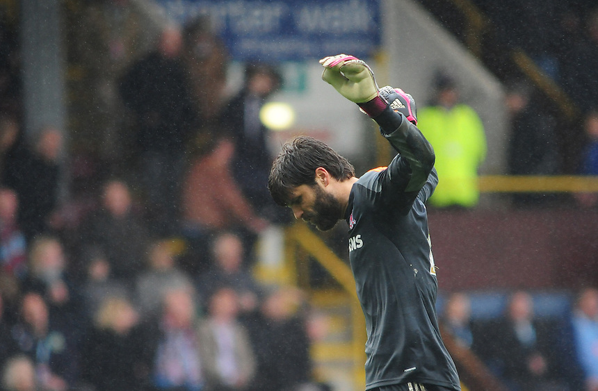 Middlesbrough's Dimitrios Konstantopoulos celebrates his sides victory over Burnley<br /> <br /> Photo by Chris Vaughan/CameraSport<br /> <br /> Football - The Football League Sky Bet Championship - Burnley v Middlesbrough - Saturday 12th April 2014 - Turf Moor - Burnley<br /> <br /> &copy; CameraSport - 43 Linden Ave. Countesthorpe. Leicester. England. LE8 5PG - Tel: +44 (0) 116 277 4147 - admin@camerasport.com - www.camerasport.com