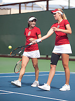 STANFORD, CA - April 14, 2011: Natalie Dillon and Amelia Herring of Stanford women's tennis during Stanford's dual against St. Mary's. Stanford won 6-1.