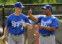 June 19, 2008: Outfielder Allen Caldwell of the Burlington Royals, rookie Appalachian League affiliate of the Kansas City Royals, talks with coach Omar Martinez at Dan Daniel Memorial Park in Danville, Va. Photo by:  Tom Priddy/Four Seam Images