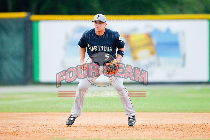 Pulaski Mariners third baseman Joseph DeCarlo (5) on defense against the Burlington Royals at Burlington Athletic Park on July 20, 2013 in Burlington, North Carolina.  The Royals defeated the Mariners 6-5.  (Brian Westerholt/Four Seam Images)