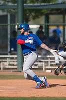 Chicago Cubs first baseman Tyler Alamo (8) during a Minor League Spring Training game against the Colorado Rockies at Sloan Park on March 27, 2018 in Mesa, Arizona. (Zachary Lucy/Four Seam Images)
