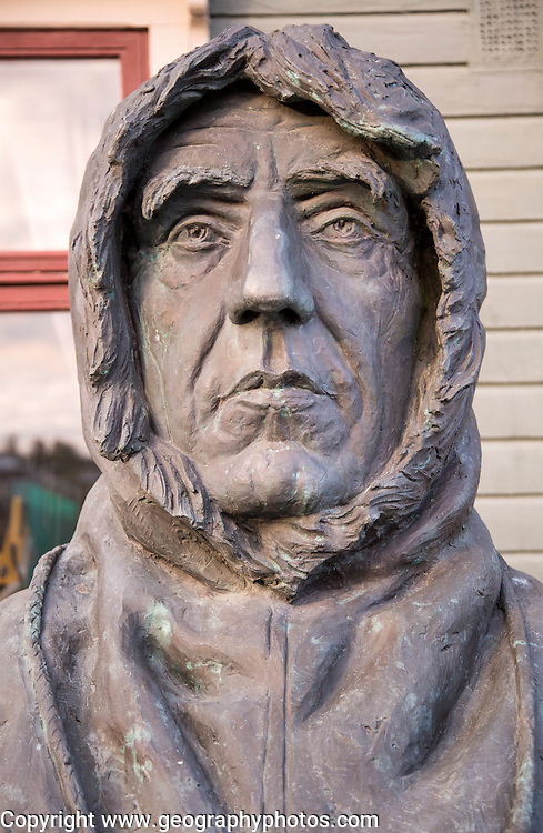 Roald Amundsen, 1872-1928, bust statue sculpture of famous explorer at the Polar Museum, Tromso, Norway