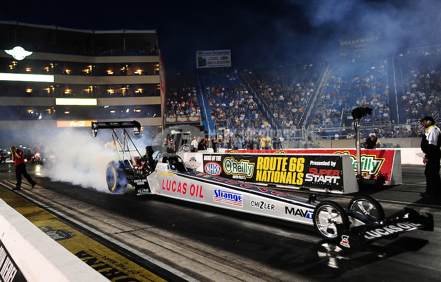 Jun. 29, 2012; Joliet, IL, USA: NHRA top fuel dragster driver Chris Karamesines during qualifying for the Route 66 Nationals at Route 66 Raceway. Mandatory Credit: Mark J. Rebilas-