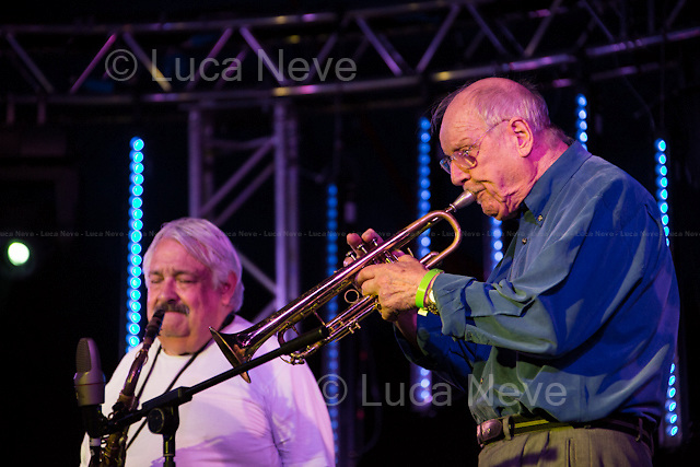 Ealing (London), 27-28/07/2013. Ealing Jazz Festival 2013 - Jack Honeyborne Quintet.<br /> <br /> Ronnie Hughes (Trumpet)<br /> Willie Garnett (Saxes)<br /> Jack Honeyborne (Piano)<br /> Harvey Weston (Double bass)<br /> Tony Kinsey (Drums)