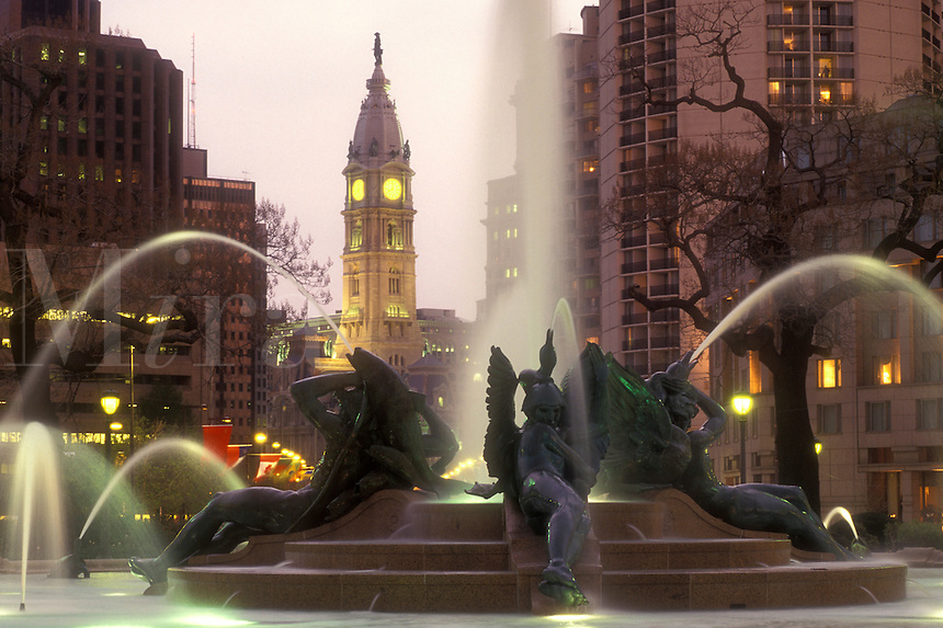 AJ1187, Philadelphia, Pennsylvania, Fountain at Logan Circle with City Hall in the background in the evening in downtown Philadelphia, Pennsylvania. The fountain was cast by Alexander Stirling Calder.