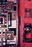 Ennis House--detail. Frank Lloyd Wright. Los Feliz, 1924. Hardware and glass detail. Mayan Architecture