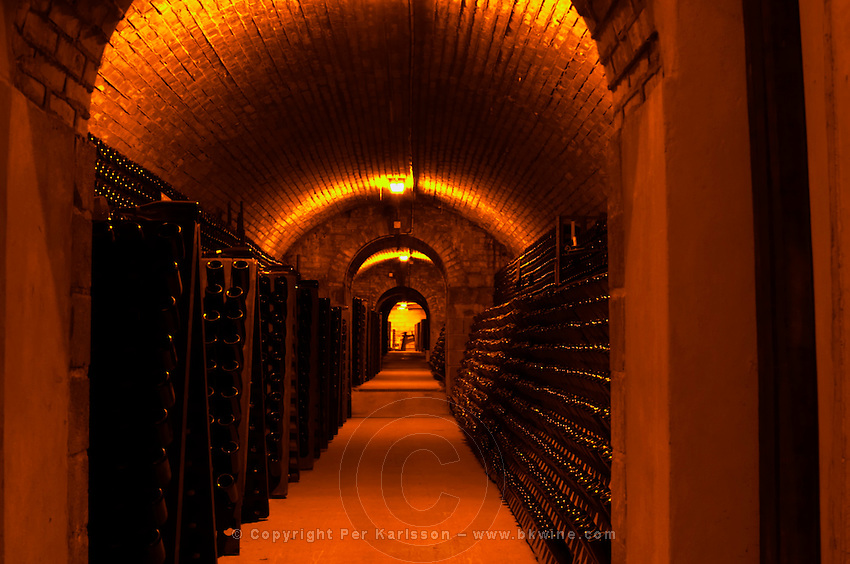 The underground wine cellar, thousands of bottles aging either in pupitres (racks) upside down waiting to be disgorged or lying on their side for the secondary fermentation Champagne Francois Seconde, Sillery Grand Cru, Montagne de Reims, Champagne, Marne, Ardennes, France