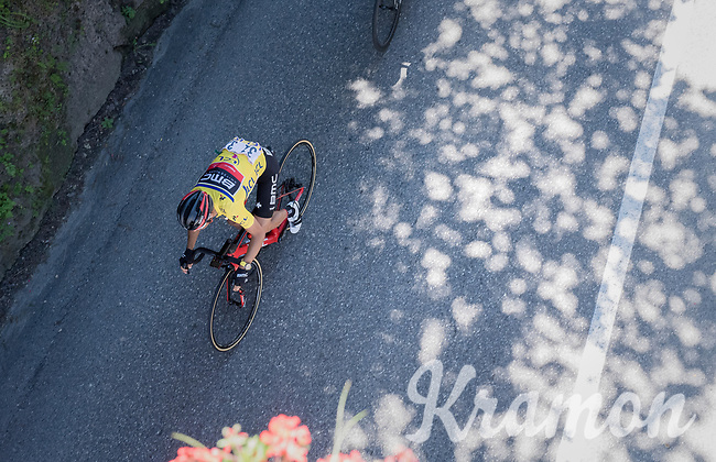 yellow jersey/ GC leader Richie Porte (AUS/BMC) <br /> <br /> 69th Crit&eacute;rium du Dauphin&eacute; 2017<br /> Stage 8: Albertville &gt; Plateau de Solaison (115km)