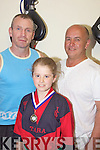 Kickboxer - Tara McGinty pictured with her proud dad Sean and trainer Mike Allen at the Tralee School of Martial Arts last Wednesday following her return from The IKF Junior Open Kickboxing Championship in Dublin with a silver medal following a split decision in the final .................................................................................................................................................................................................................................................................................................................................................................................................................................................................................................................................................................................................................................... ........................