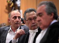 Raniero Busco accanto agli avvocati Franco Coppi, al centro, e Paolo Loria, a destra, poco prima della lettura della sentenza che lo assolve dall'accusa per il delitto di Via Poma, al termine del processo presso la Corte d'Appello di Roma, 27 aprile 2012..UPDATE IMAGES PRESS/Riccardo De Luca