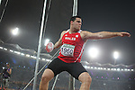 Delhi 2010 Commonwealth Games.Welsh discus thrower Brett Morse turns on the power in the final at Jawaharial Nehru Stadium..10.10.10.Photo Credit-Steve Pope-Sportingwales