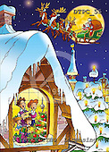 Eberle, Comics, CHRISTMAS SANTA, SNOWMAN, paintings, DTPC55,#X# Weihnachten, Navidad, illustrations, pinturas